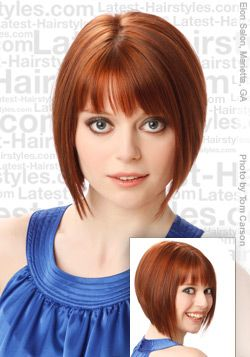 Extreme A-Line Bob Hair    Finely blunt cut bangs liven up the face with this amazing hairstyle. The side part keeps it from looking too harsh. Layers up the back are precise and create a full wedge.