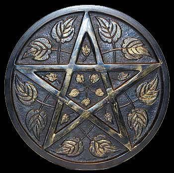 "Pentacle Altar Tile - Ritual Item - Detailed Pentacle Altar Tile with floral leaf design, gold antiqued coloring with raised pentacle, great center piece for altar or table.- approximately 9"" diameter and 1/2"" thick.  Metal 9"" x 1/2"""