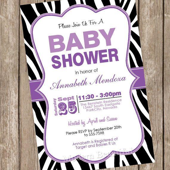 Girl Baby Shower Invitation Purple and Black Zebra Baby Shower Invitation Printable Personalized 20130116-K1-2 on Etsy, $13.00