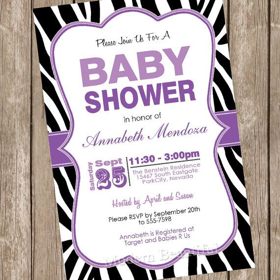 Girl Baby Shower Invitation Purple and Black Zebra Baby Shower Invitation Printable Personalized 20130116-K1-2 on Etsy, $13.00