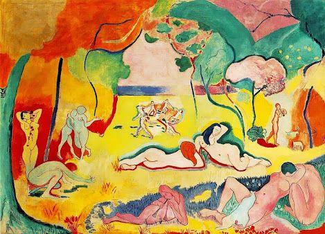 """A Alegria de Viver - Henri Matisse Ao diabo a realidade! Com Matisse, o gramado é amarelo, o céu rosa e os nús malva, azuis ou verdes. Côres potentes e poéticas constroem uma composição que bem leva o seu nome. Elaborada entre 1905 e 1906, foi exposta pela primeira vez no Salão dos Independentes (Paris, março de 1906). A obra foi uma resposta do próprio Matisse à hostilidade com que o seu trabalho havia se faceado """"Salon d'Automne"""" (Paris, 1905), e alicerçou ainda mais profundamente a..."""