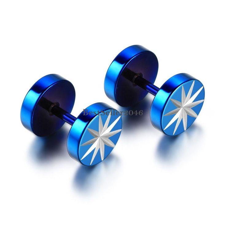 8 mm Edelstahl Fakeplugs Fake Plug Tunnel Piercing Ohrringe Spike Stern
