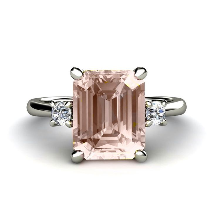 Emerald+Morganite+Engagement+Ring+3+Stone+Morganite+by+RareEarth,+$1,020.00