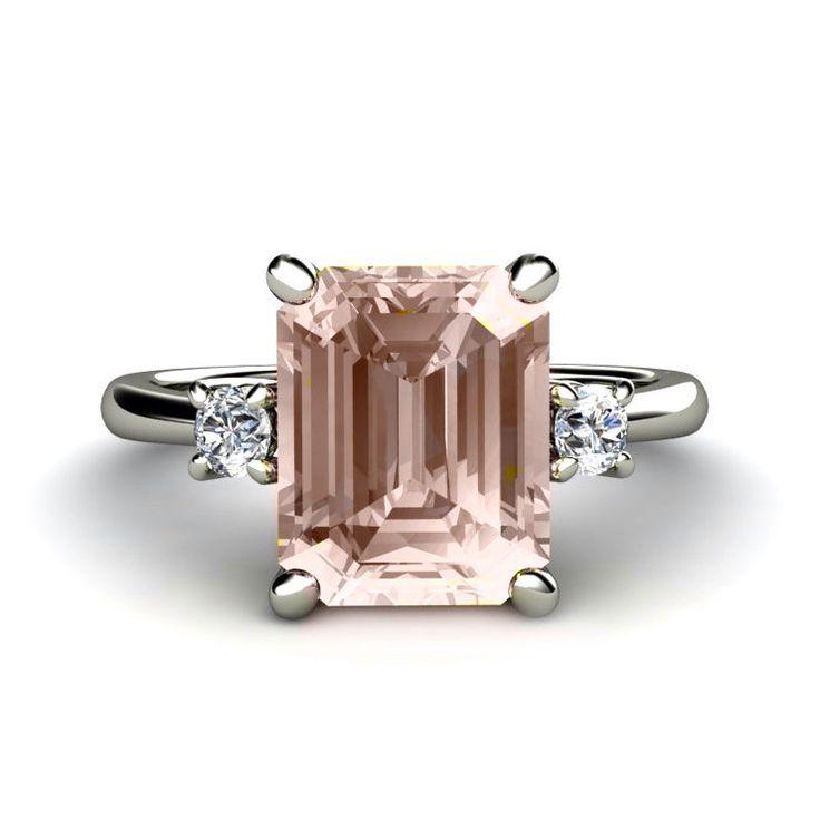 Emerald+Morganite+Engagement+Ring+3+Stone+Morganite+by+RareEarth,+$1,020.00