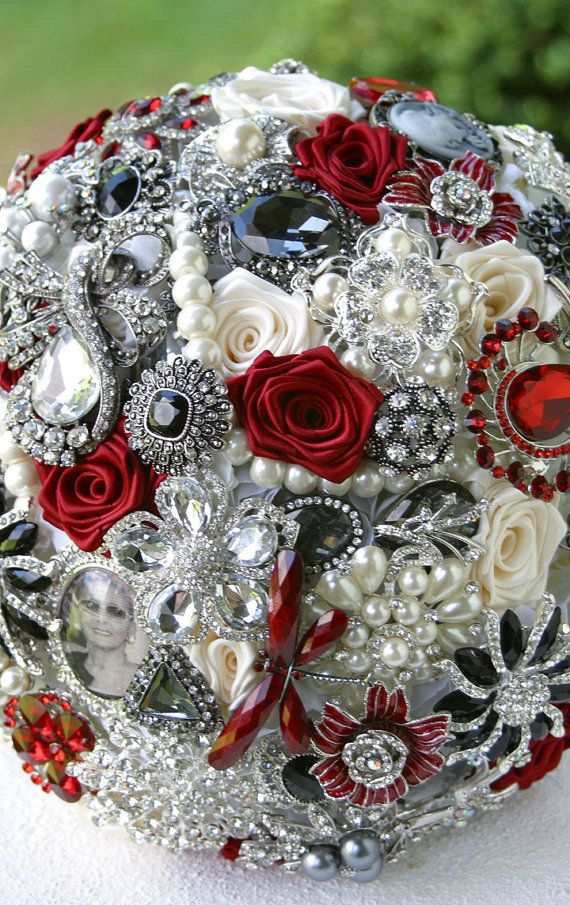Red Black and White Wedding Brooch Bouquet.