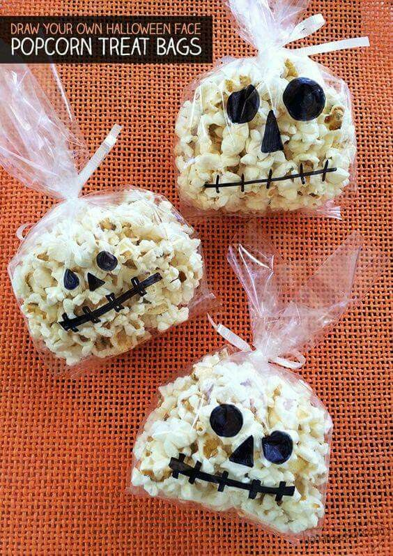 another alternative to snack bags but with popcorn this time and not cheesey snacks halloween treats for kidscheap