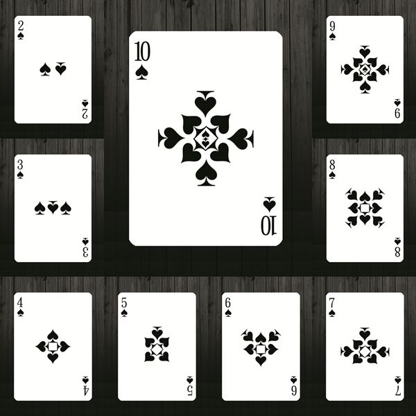 Bicycle Definite Playing Card Deck by Vinai Hopitakkul. I like the simplicity of these and how the number on the card relates to the number of the suit used.