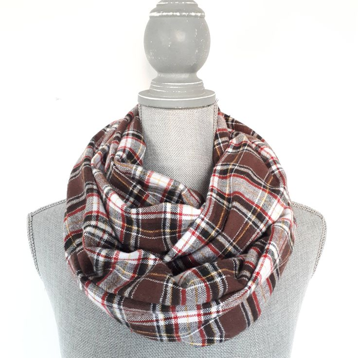 Plaid Scarf by Bakeapple Designs, Infinity Scarf, Autumn Scarf, Brown,Red, White, Plaid, Handmade, Gift Under 30, Accessory