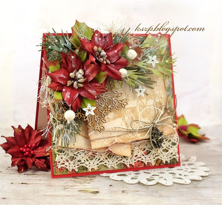 Hello everybody   Today I want to share with you my newest Christmas card. I used the lovely Pretti Flori poinsettias - they are so beautif...