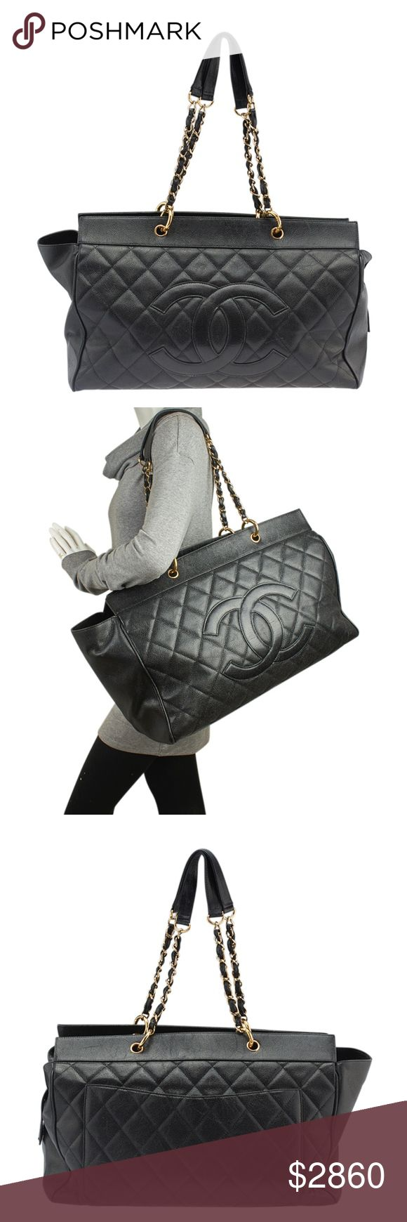 Chanel XL Grand Shopper Caviar Quilted Tote 138077 •Designer: Chanel •Interior Lining: Fabric •Interior Color: Black •Meas (L x W x H): 22x8x10 •Handle Drop: 10 •Interior Pockets: 2 •Overall Condition Description: -Exterior corners show scuffing and are torn exposing the inner piping -Exterior leather shows scuffing and wear throughout -Exterior shows creasing -Leather around the top opening shows scratches and scuffing -Interior shows scuffing and light staining -Hardware shows scratches…