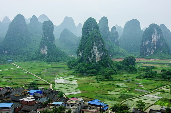 The Beautiful Karst Rural Scenery In Spring By Carl Ning