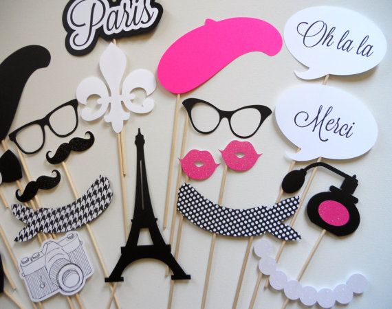 SALE TODAY ONLY Paris Photo Booth Props . by ThePropMarket on Etsy
