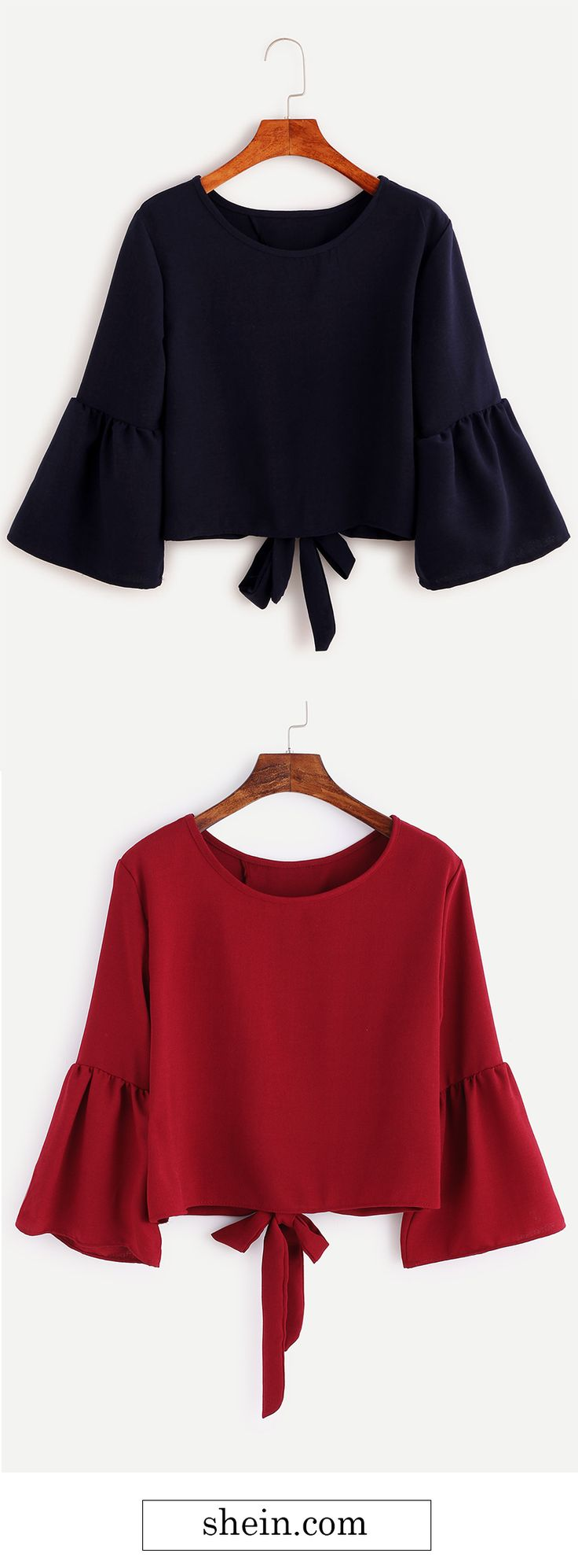Navy Bell Sleeve Bow Tie Back Blouse.