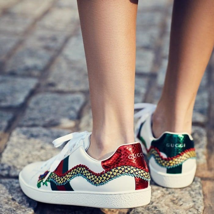 Gucci New Ace Dragon Leather Sneakers