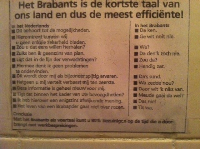 Dè dusss....Brabants is the most efficient dialect language spoken in the Netherlands