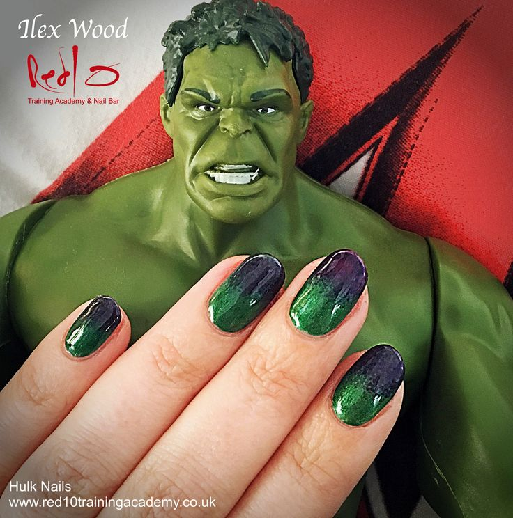 Hulk Avengers Nails in Gelish by Ilex Wood