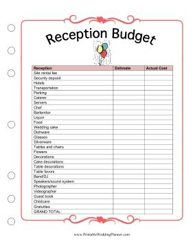 What with the site rental, the music, the decorations, the food and the drinks, the cost of a wedding reception can get out of hand. Keep your spending in check with the Wedding Planner Reception Budget worksheet, which helps you estimate and plan your reception expenses. Free to download and print