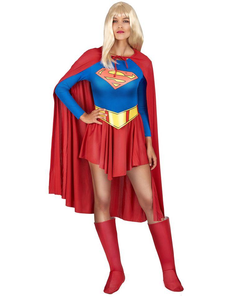 Disfraz de Supergirl™ para mujer: Disfraz de Supergirl™ en su versión clásica. Se compone de una falda roja con un cinturón amarillo muy bonito y un body azul en el que va estampado el logo de...