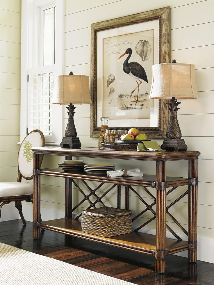 Leather-wrapped rattan and decorative latticework show an island-inspired, Polynesian influence on this sophisticated sofa table. A functional as well as fashionable storage piece, two open shelves offer plenty of room to display souvenirs from your travels, framed photos, or your flatscreen TV..