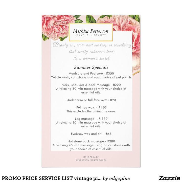 PROMO PRICE SERVICE LIST vintage pink peony floral Flyer