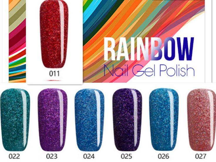 2017 Beautiful Neon Rainbow Nails 7ML UV Nail Gel Polish Professional Long-lasting Nail Gel Varnish for Nail Art Design