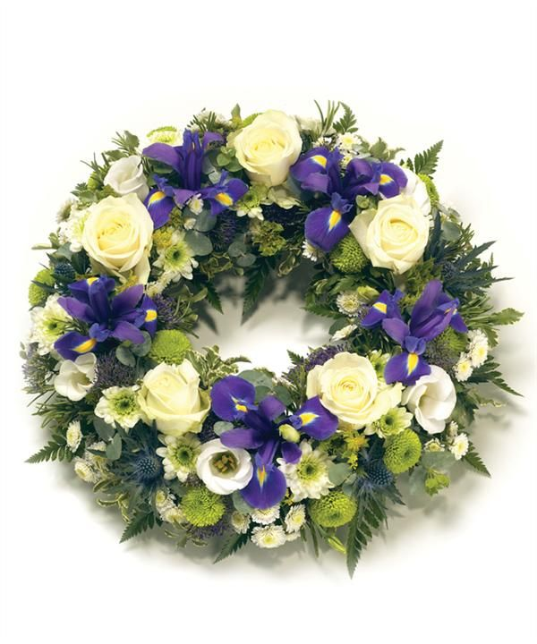 Funeral wreaths are popular. Any flower or colouring can be used.