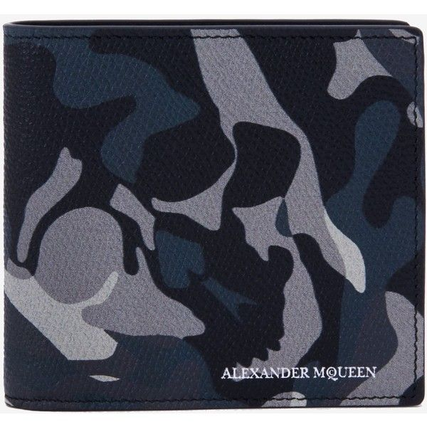 Alexander McQueen Camouflage Billfold Wallet ($295) ❤ liked on Polyvore featuring men's fashion, men's bags, men's wallets, blue mens wallet, alexander mcqueen mens wallet, mens skull wallet and mens camo wallet