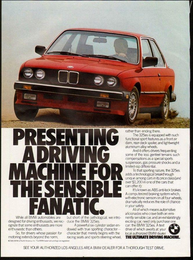 1986 BMW 325 eS  (e30, economy sport edition). print advertisment.