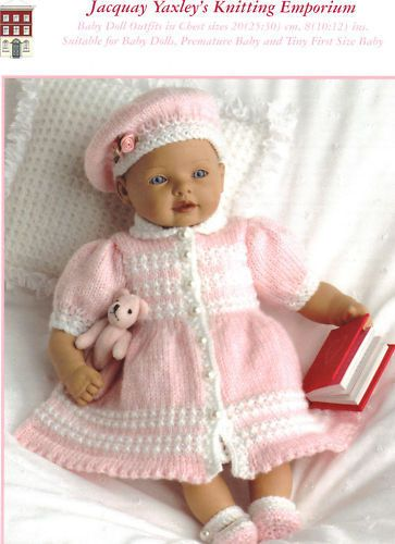 Jacquay-Yaxley-KNITTING-PATTERN-For-Baby-Doll-Premature-Baby-Outfits