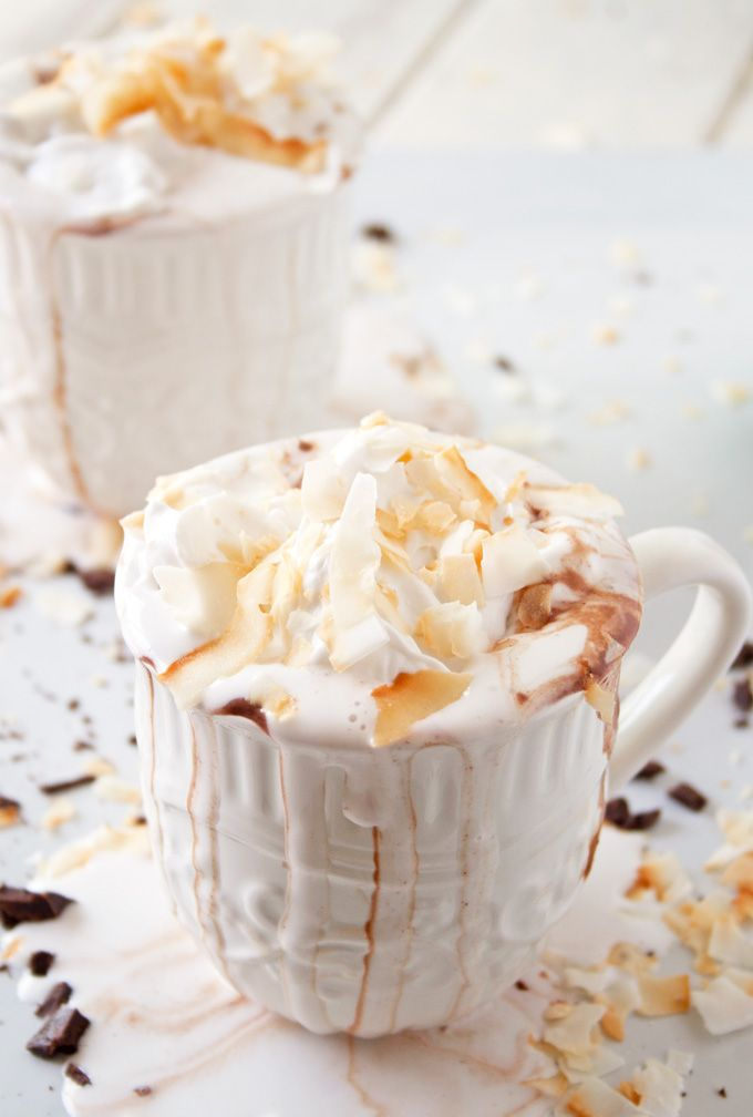 Coconut Hot Chocolate with Coconut Whipped Cream