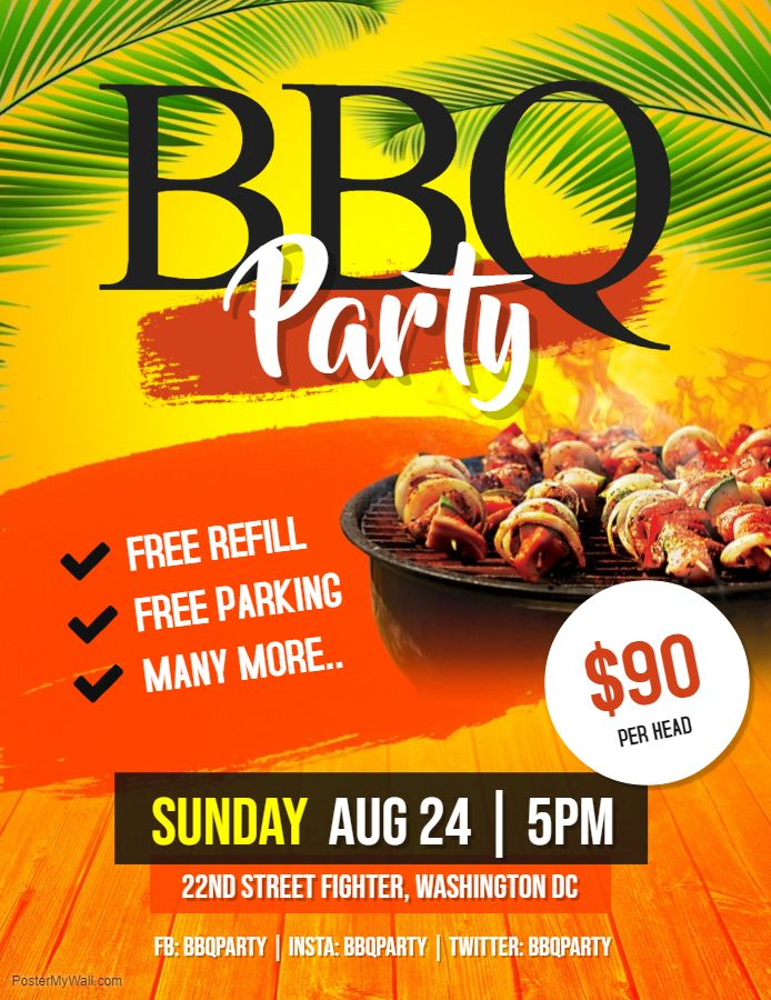 Tropical themed BBQ fair event flyer custom template Barbecue