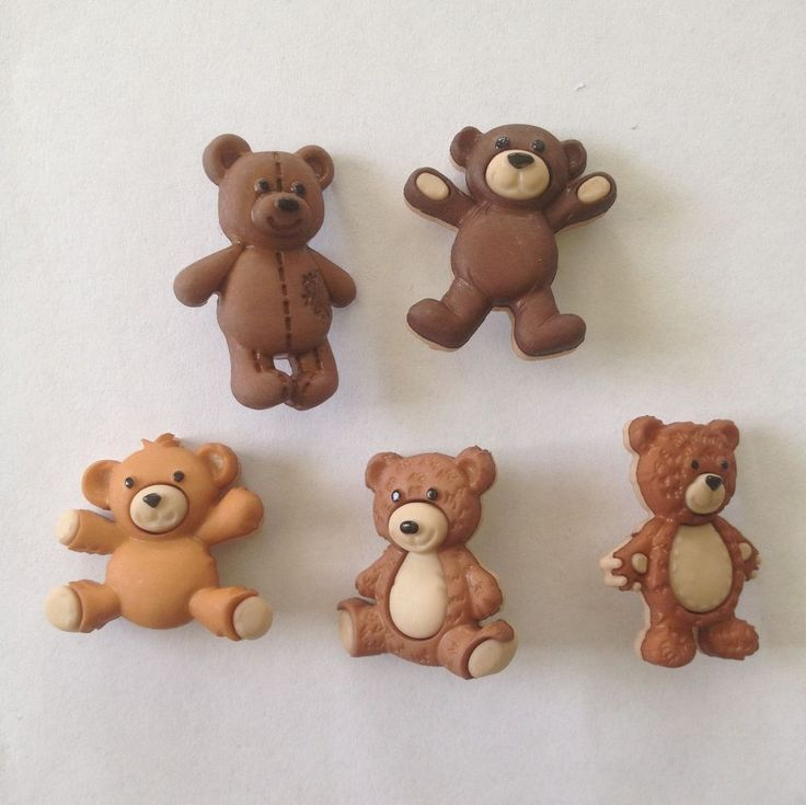 Novelty Dress It Up buttons - Cuddly brown teddy bears stuffed with love - 7694