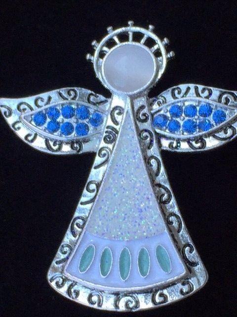 NWT KC SILVER BLUE GREEN MOON STONE CAT EYE CHRISTMAS HALO ANGEL BROOCH JEWELRY #KC