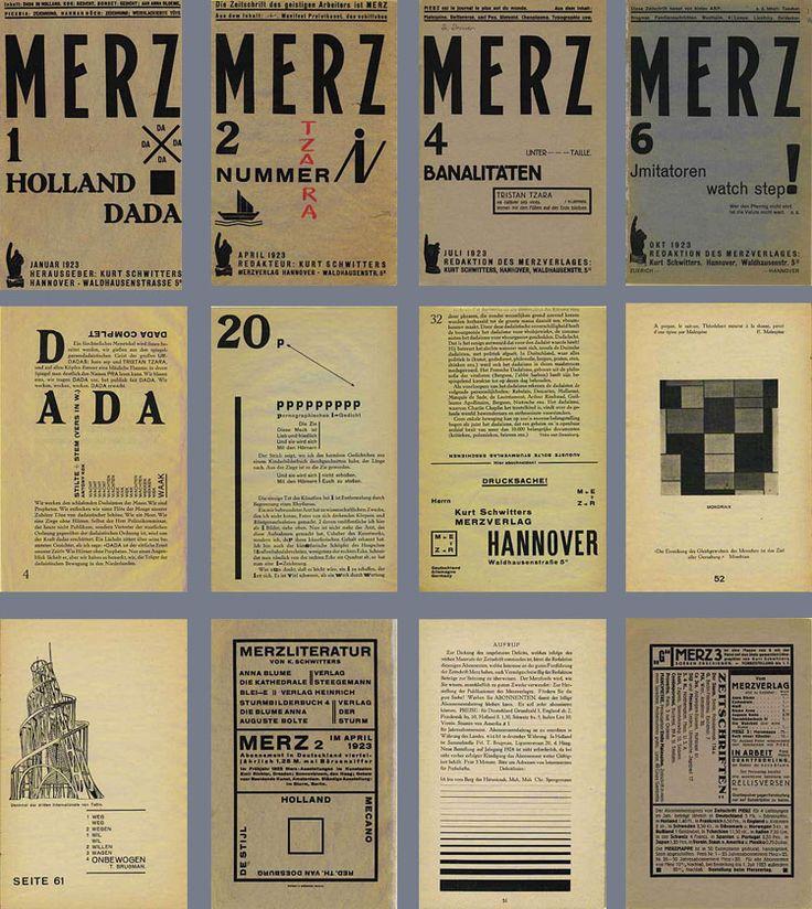 Kurt Schwitters, Merz (oeuvre complète de vie en dehors de son groupe artistique comme El Lissitzky avec Prouns), années 20. Passer de l'art expérimental au concret. Art total (archi, pub, collages, sculptures etc.) Exploiter les expériences pour aller vers une mise en page moderne, révolution de celle-ci et du graphisme: géométrisation (de stijl, cubisme, art déco) Pas d'illusion de perspective sauf la cavalière, ajout de textures. sens de lecture ?