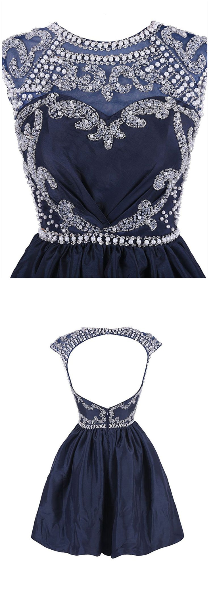 2016 homecoming dress,elegant homecoming dress,exquisite homecoming dress,dark navy homecoming dress,homecoming dress with beades