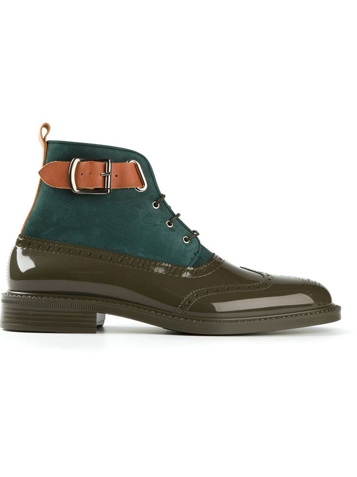 An awesome pair of moss green patent boots with suede detail by Vivienne Westwood for men. Perfect for fall!