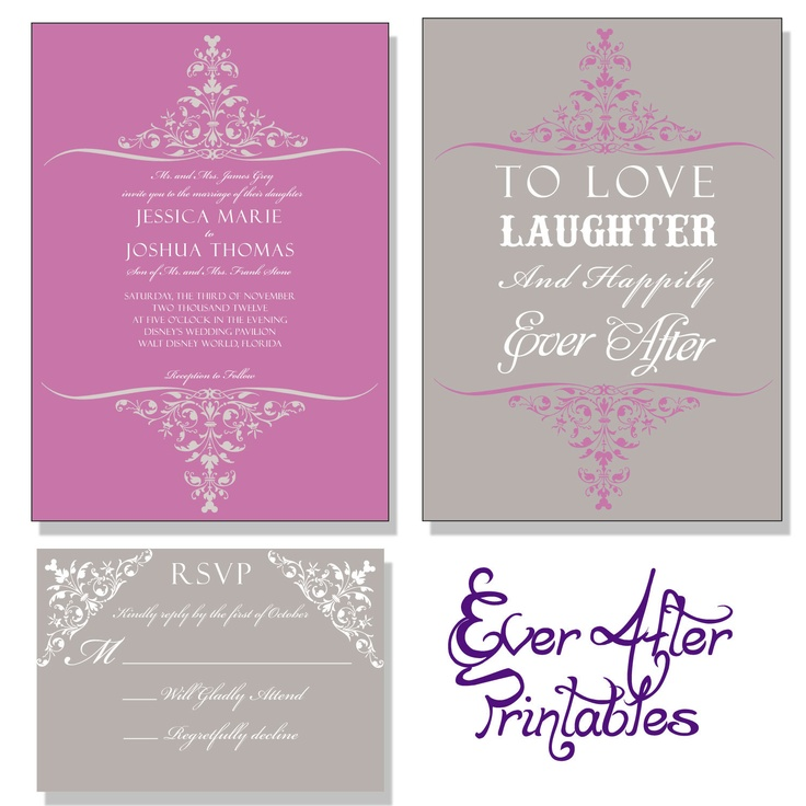 Love Laughter and Happily Ever After - Disney Inspired Wedding Invitation. $20.00, via Etsy.