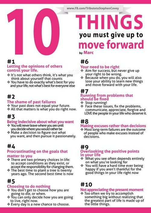 Stephen Covey | 10 things you must give up to move forward. Amazing advice for the positive changes I want to make this ...