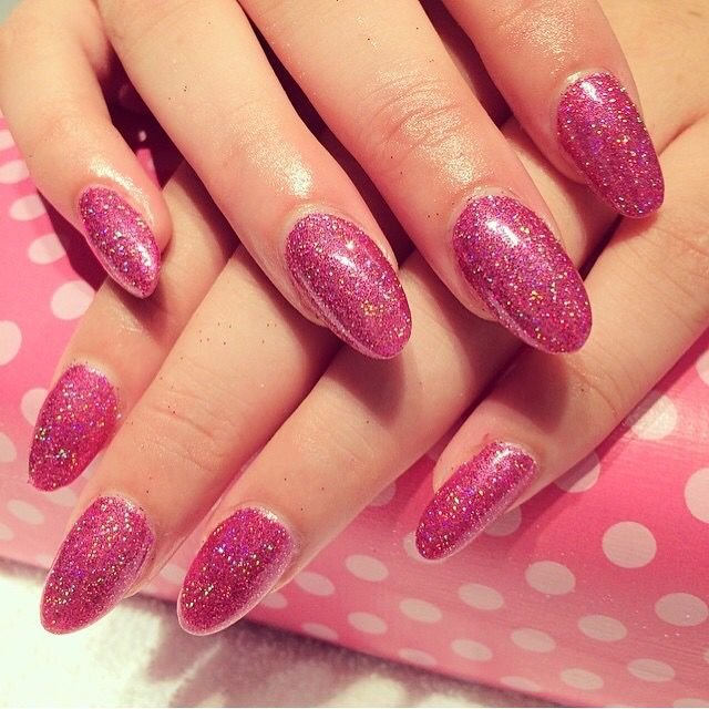 Holographic hot pink glitter over acrylic nails  For more prices, info about services, and online booking go to CaliforniaNails.no or call 405 45 228  #californianails #negler #naglar #gelnails #nailpolish #nails #snowflakes #notd #lashes #vippe #mua #makeup #makeupartist #shellac #stavanger #stavangersentrum #norge #norway #nailart #silver #french #acrylic #notd #nailsoftheday #nailstagram #nailsofinstagram #nailswag #acrylicnails #snowflakes #akryl #holographic #hotpink