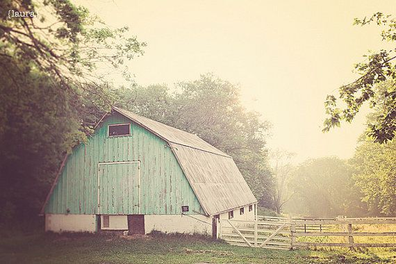 Landscape Barn Photography Light Turquoise Barn by DreamyPhoto