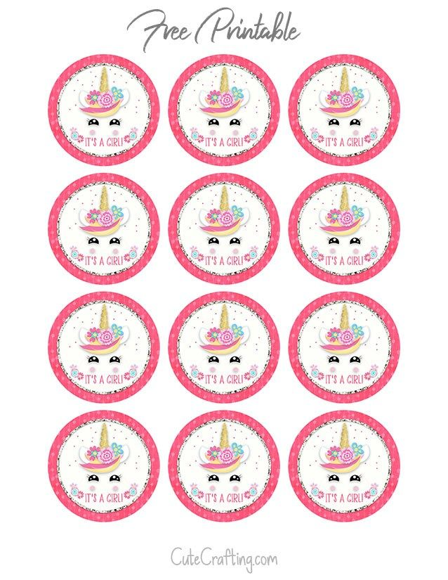 Unicorn Baby Shower Printable Cupcake Toppers Cupcake Toppers Printable Baby Shower Cupcake Toppers Unicorn Baby Shower
