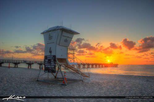 Pompano Beach Pier Broward County Florida During Sunrise