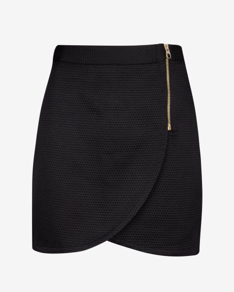 Textured wrap mini skirt - Black | Skirts | Ted Baker UK