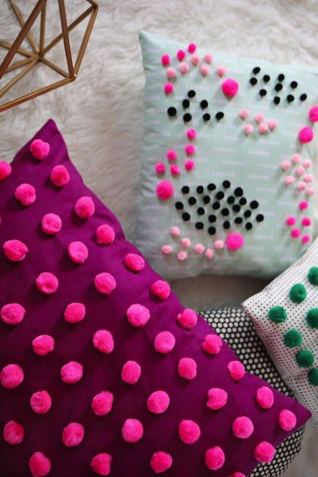Upgrade your basic throw pillow with this easy DIY mini pom pom project.