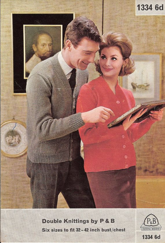 Vintage Knitting Pattern: 1960s Ladies & Gents Cardigan, 32 - 42 inch chest, Double Knit (PDF Download)