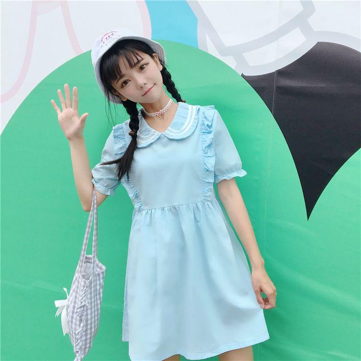 Preppy Stijl Vrouwen jurk Peter pan Kraag Prijs Is Niet Laag en 42 RMB Japanse Zwarte Schimmel Witte Jurken Lichtblauw 3015