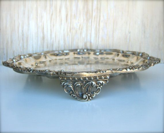 reserve s wedding silver cake stand vintage shabby silver plate footed tray