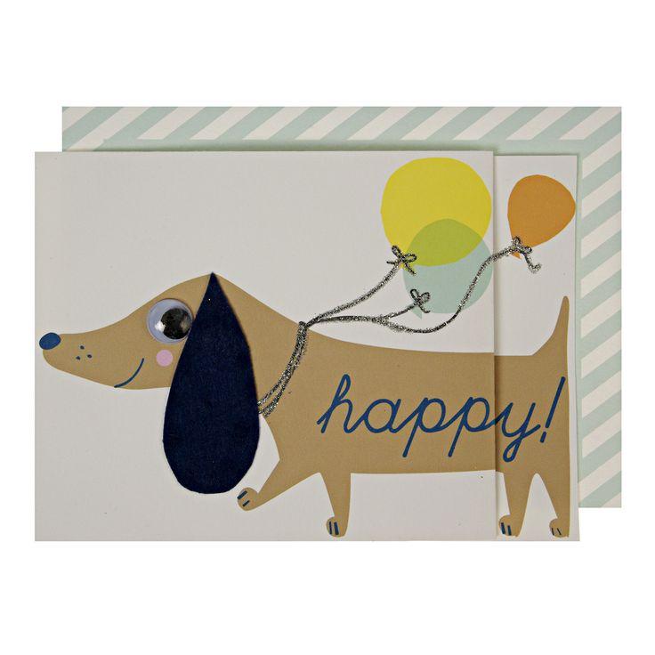 """""""Happy Days"""" - A Dachshund Birthday Card by Meri Meri. #birthdaycars #dachshund #bday #giftcards"""