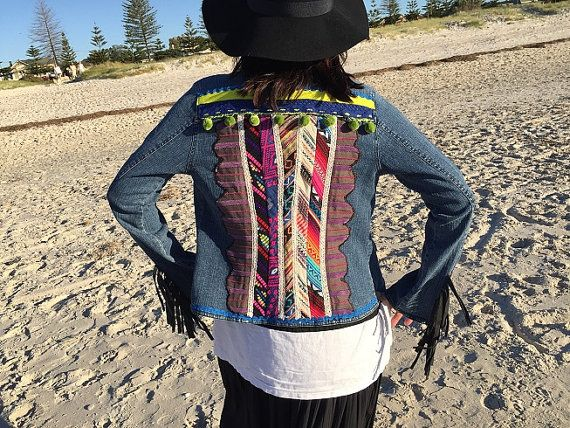 Denim jacket, up-cycled Love and peace bohemian hippie Ladies embellished jacket, Hobo, ethnic  cotton denim.  Made in Australia.