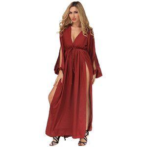 Wholesale7/ Sexy V Neck Bandage Slit Long Dresses